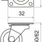 Áttetsző fékes bútorgörgő 35 mm